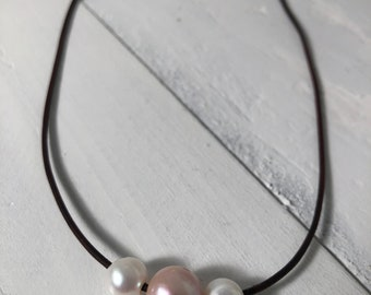 Triple White, Pink, White Freshwater Cultured Pearl Necklace