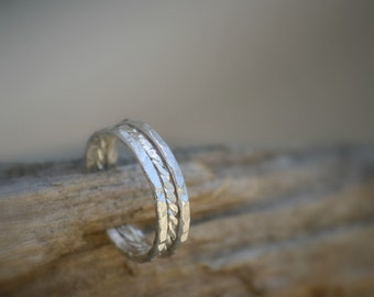 Three (3) Sterling Silver Stacking Rings, Stacking bands, Unique, Hammered Delicate Rings, Friendship rings
