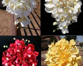 Silk Cascading Orchid Bridal Bouquet SET - Pick Your Color!