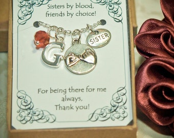 Personalized Sister Necklace With Birthstone and Initial - S-01A - Personalized Sister's Gift -- Sisters Necklace -- Christmas Gift