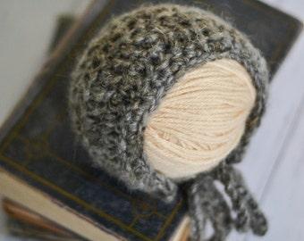 Knit Baby Bonnet, Baby Winter Hat, Newborn Winter Hat, Baby Bonnet, Newborn Hat, Ready to Ship Newborn, Newborn Bonnet, Charcoal Gray Bonnet