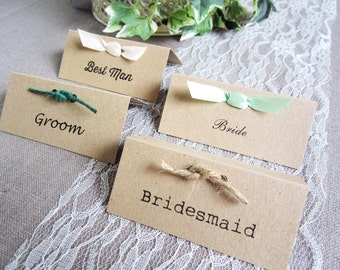 Rustic Wedding Place Name Cards personalised with twine or ribbon /guest cards /rustic/ vintage / village fete wedding / shabby chic wedding