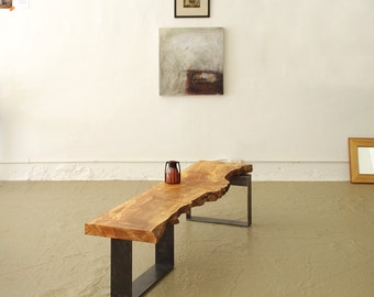 live edge table from urban salvage wood and high recycled content steel - north   west bench - modern industrial natural edge
