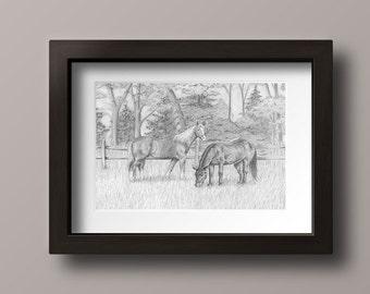 Horse Print - Horses Print - Horse Art - Horse Decor - Horse Lover Gift - Horse Wall Art - Horse Drawing - Horses Decor -  Horses Art