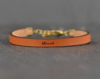 blessed | scripture bracelet | leather bracelet | faith bracelet | faith jewelry | message bracelet | gift for her | jewelry | laurel denise