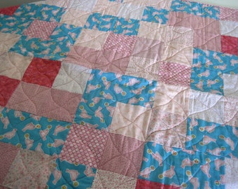Pink and Blue Patchwork Baby Quilt, Baby Shower Gift, Crib Quilt, Handmade Baby Blanket, Pink and Blue Baby Quilt.  Ready to Ship