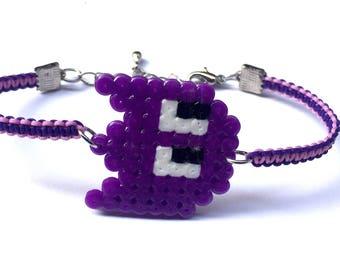 Purple Monster Shamballa Bracelet, Ghost Shamballa Bracelet, Perler Ghost Charm Bracelet, Perler Monster Shamballa Bracelet