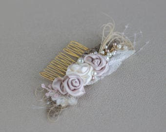 Wedding Hair accessories Bridal hairpiece Rustic hair comb Flower hair comb Burlap hairpiece Lace fascinator Floral hair accessories