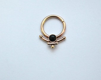 Gold Nipple Ring, Nipple jewelry 14g, 3mm Onyx Nipple piercing 14 gauge, Septum piercing, Onyx Septum ring 14g, Helix earring