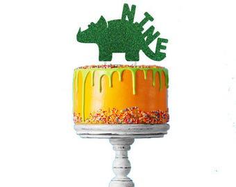 Dinosaur 9th Birthday Cake Topper - Number Nine Dinosaur Cake Topper - Glittery Green Cake Topper - Boys Cake Topper