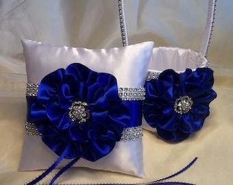 Flower Girl Basket and Ring Bearer Pillow, Royal Blue Satin Trim and Rhinestone Mesh Trim, Flower Girl Basket, Ring bearer Pillow