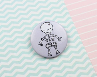 Cute Skeleton Pin Badge Wedding Favour Party Favour Halloween Treat Halloween Gift Gothic Wedding Button Pin Button Badge