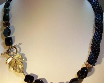 """Navy and Amethyst Bead Crochet Necklace - 20"""""""