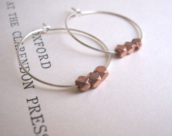 Copper and Silver mixed metal hoop earrings - small hoops with faceted beads - minimalist - SALE