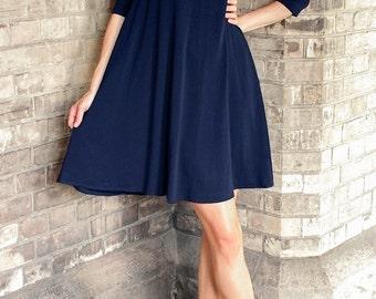 Cécile Flowing robe Cape courte - robe bleu marine - col - tente - robe de soirée - Tunique robe - petite robe - robe swing