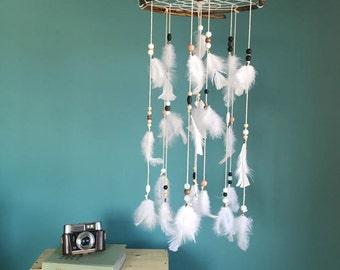 White Dream catcher mobile, white Feather Mobile, Boho dreamcatcher, baby mobile, Nursery Decor for baby, boho baby