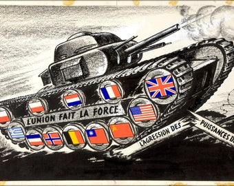 Poster, Many Sizes Available; Inf3 314 Unity Of Strength Tank With Allied Flags On Track Driving Wheels
