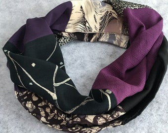 japanese silk kimono scarf -purple and black