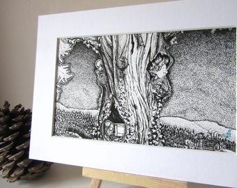 "Black & White Line Art Print: ""Tree House"""