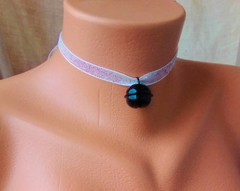 BYO Kitten Play Day Collar Glitter White Velvet and Black Bell, Choker, DDLG Choker, BDSM Choker, KItten Play Collar