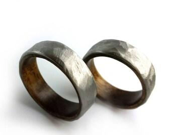 Ring Set, Titanium Ring Set, Walnut Wood Ring Set, Unique Ring Set, Hammered Titanium Ring, Wood Metal Ring, Two Rings,  Grand Junction Guy