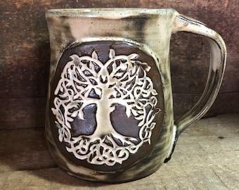 Celtic Tree of Life Pottery Mug with roots birch glaze