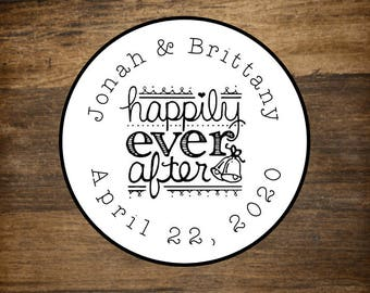 "Wedding favor labels, personalized stickers, 2"" round stickers, set of 20, Happily Ever After, Matte white or Kraft brown, custom sticker"