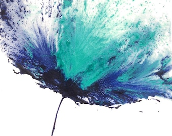Flower Art Painting Abstract Floral Blue Decor Teal Navy 11 x 14 Original