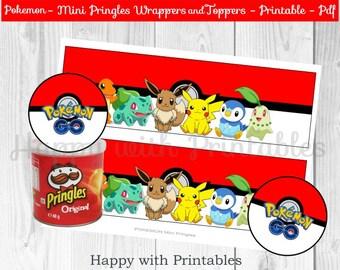 Pokemon GO Mini Pringles wrappers - Pokemon wrappers - Pokemon GO Pringles Toppers - Pikachu - Pokemon party - Pokémon printable