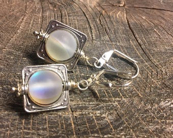 Simply square dangle earrings clear moon glow glass beads