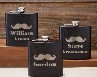 Black Matte Mustache Flask - Stainless Steel Flask - Groomsmen Flask - Mustache Flask - Personalized Flask - Groomsmen Gifts - GC1224