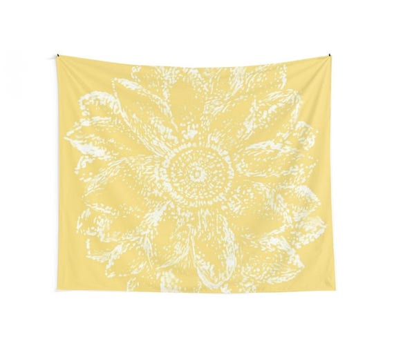 Yellow Flower Wall Tapestry Yellow Wall Tapestry Floral Wall