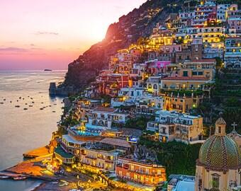 Jeweled Coast, Positano, Amalfi Coast, Italy, Sunset, Mediterranean Sea, Boats, Romantic, Campania - Travel Photography, Print, Wall Art