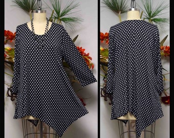 Dare2bstylish Asymmetrcal Love Bug Versatile Polka Dot Plus size available Tunic for Travel and Much More. M to 3XL