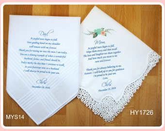 Parents of the Groom gift from the Groom-Wedding Handkerchief-PRINTED-CUSTOMIZED-Wedding Hankerchief-Wedding Gifts-from son to parents