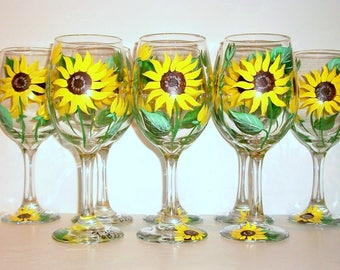 Hand Painted Bridesmaids Gift Wine Glasses Bachelorette Party Wedding Bridal Shower Mother of the Bride Yellow Sunflowers  Set of 8