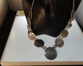 Fabulous Vintage Hopi Overlay 9 Medallions Signed Storyteller Sterling Necklace