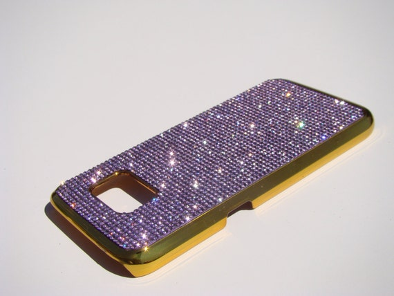 Galaxy S7 Case Purple Amethyst Rhinestone Crystals on Gold-Bronze Chrome Case. Velvet/Silk Pouch Bag Included, Genuine Rangsee Crystal Cases