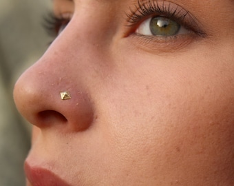 Pyramid Nose Stud, Gold Nose Ring, Nostril Screw, Gold Nose Stud, Nose Pin, Geometric, Nose Piercing, 14k Yellow Gold, Nose Jewelry, Tribal