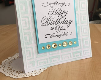 Geometric Teal Handmade Birthday