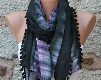 Black & Pink Ombre Cotton Scarf,Fall Summer Shawl, Batik Design Cowl bridesmaid gift Gift For Her Women fashion Accessories Pompom Scarf
