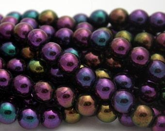 25 Czech Round Glass Beads in Iris Purple - 8 mm