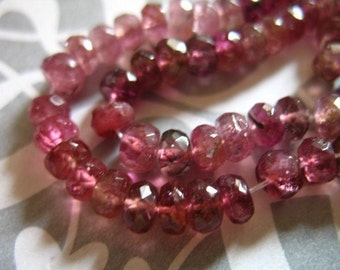 10 25 50 pcs, 3-3.5 mm, PINK TOURMALINE Rubellite Tourmaline Rondelles Bead, Luxe AAA, October birthstone, wholesale shaded pr solo