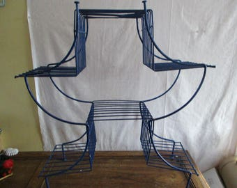 Tiered Plant Stand Metal Retro Mod Blue