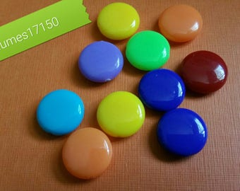 10 multicolored acrylic beads, opaque 14x5mm