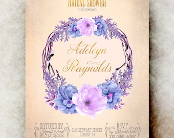 Watercolor bridal shower Invitation printable - blue bridal shower invitation, floral bridal shower invitation, bridal shower invites