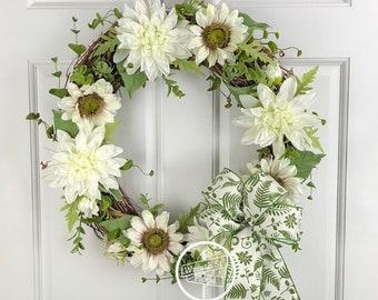 Sunflower Wreath, White Wreath, Summer Wreath, Spring Wreath, Wreath Street Floral, Grapevine Wreath, Front Door Wreath