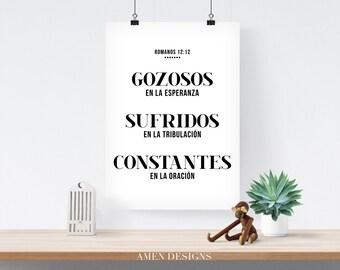Gozosos, sufridos, constantes.Romanos 12:12. Spanish. Romans. DIY. PDF. 8x10 Printable Scripture Poster.
