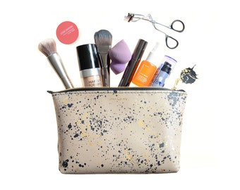 Leather Splatter Print Zip Pouch; Leather Makeup Bag; Leather Travel Bag; Leather Print Clutch