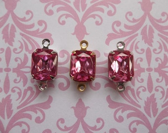 Octagon Charms - Rose Pink Czech Glass - 10X8mm Gems - Prong Settings Jewel Drops - Your Color Choice Metal Setting - Qty 2
